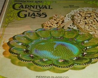 iridescent lime carnival glass egg dish in box