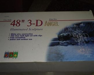 """Christmas 48"""" 3-D lit white wire angel"""