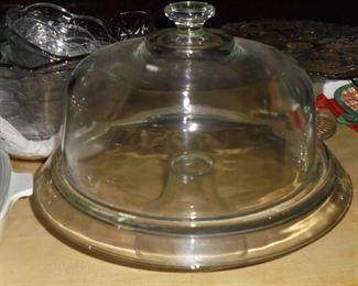Heavy glass cake dome w/pedestal platter