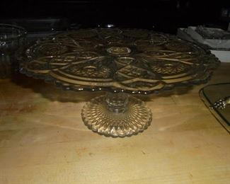 Heavy glass pedestal cake plate