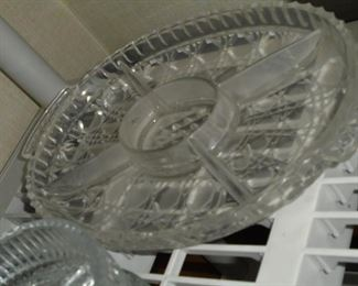 Vintage oval glass relish tray