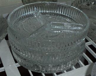 Vintage round glass relish trays (3)