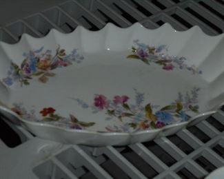 White w/flowers porcelain relish tray