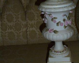 1 of 2 white flower lamps