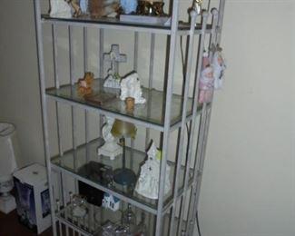 White iron bakers rack w/glass shelves