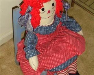 Raggedy Ann doll in chair