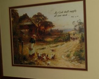 Framed & matted 'My God shell supply all your needs...'