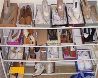 Shoes size 8 med and shoe rack