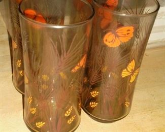 4 Vintage butterfly glassed
