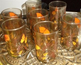 Vintage butterfly juice glasses