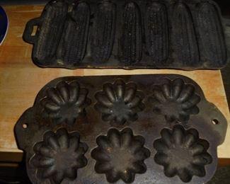 2 cast iron cornbread molds