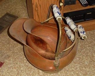 2 vintage copper coal buckets w/porcelain handles (unbroken)