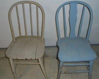 2 vintage wood chairs