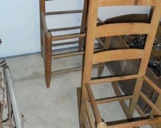 2 vintage ladder back chairs 1 is rocker