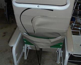 Geriatric chair on wheels w/tray - lays back (like new)