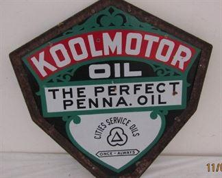 RARE Cities Service Koolmotor Oil Porcelain Kite Sign