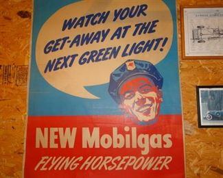 Mobilgas cardboard sign