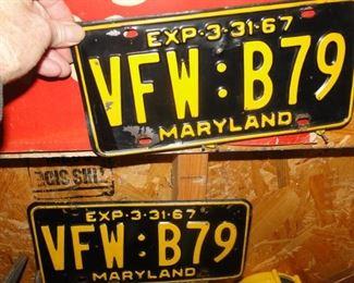 Vintage set 1967 Maryland license plates