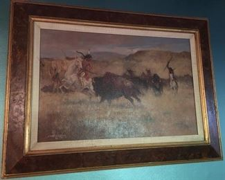 Bruce Kimberling oil on canvas 'Buffalo Hunters'