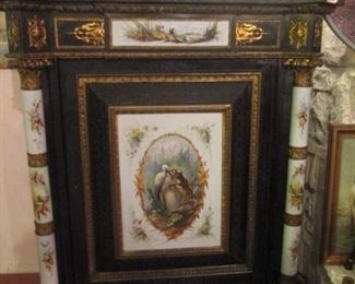 AMAZING STORAGE CABINET...HAND PAINTED PORCELAIN AND GOLD GILT APPLIQUE!  STUNNING!