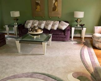 Living room furniture with Thayer Coggin purple sofa & chairs