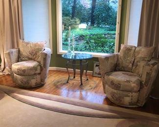Pair swivel club chairs by Thayer Coggin
