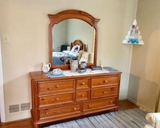 Broyhill Bedroom Set: Dresser w/ Mirror, Queen Bed, Armoire and Nightstand