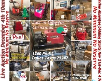 THIS IS A HUGE LIVE AUCTION ON DEC. 4TH STARTING AT 10AM. WITH ONLINE ABSENTEE BIDDING. THIS IS A MUST TO PUT ON YOUR CALENDAR ..AUCTIONEER LIC #17406