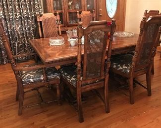 1960s Walter of Wabash Dining Table and 6 chairs, China Cabinet