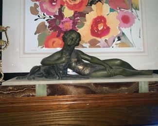 "Art Deco Bronze Sculpture of Nude Girl Laying with her Dog 8"" x 16.5"""
