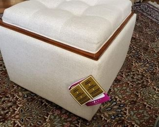 New with tags La-Z-Boy Leo Ottoman . Flippable top converts to a wooden tray top. Storage within the ottoman as well. Body Depth: 22.5 Body Height: 21.5 Body Width: 22.5
