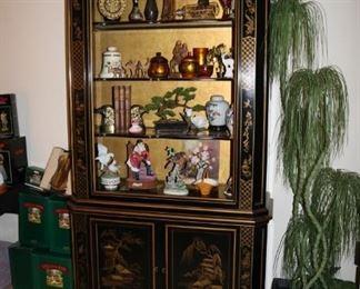 Black Lacquer Chinoiserie Vintage Curio