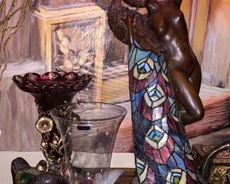 SIGNED PHILIPPE WOLFERS BRONZE STAINED GLASS LAMP  $450 .... HALF OFF