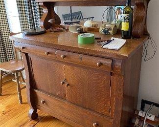 Antique Tiger Oak buffet with mirror & shelf