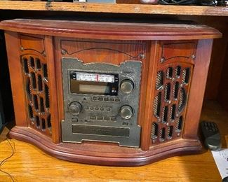Vintage radio replica with turntable
