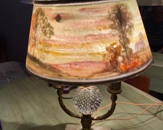 Antique Pairpoint Reverse Painted Directorie Table Lamp