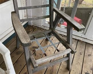 wooden patio chairs; 2