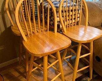 Wooden bar stools, swivel
