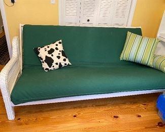White wicker futon