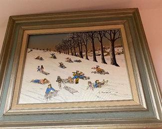 Hargrove sledding oil painting