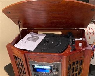 Wooden Music Center with turntable