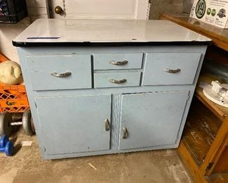 Vintage porcelain top wooden cabinet (great for an island)