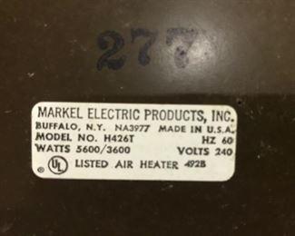 Markel 220 heater label