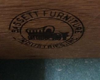 Bassett china cabinet label