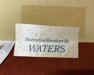 pink Waters chair label