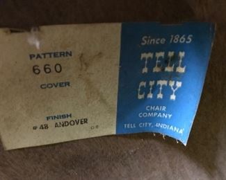 Tell City rocking chair label