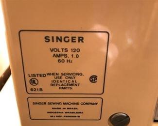 Singer sewing machine info