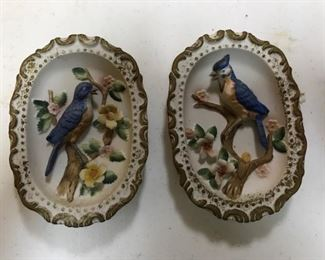 pair of Homeco bird placques