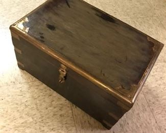 Sweet little wooden trunk with brass fittings