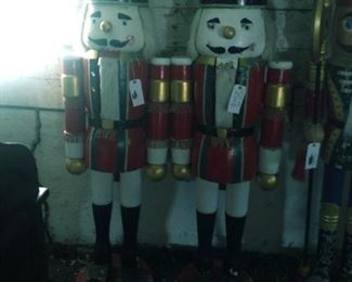 Two 6 Ft Tall Wooden Nutcracker Soldiers